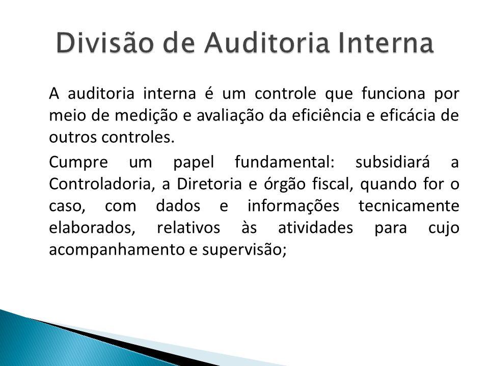 A auditoria interna é um controle que funciona por meio de medição e avaliação da eficiência e eficácia de outros controles. Cumpre um papel fundament