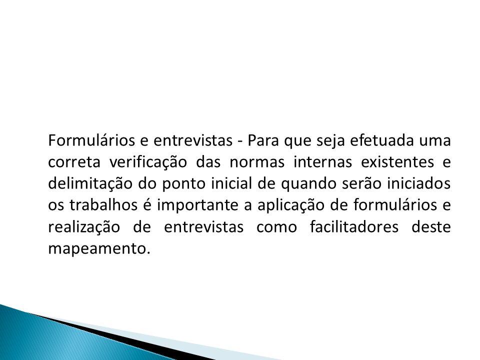Formulários e entrevistas - Para que seja efetuada uma correta verificação das normas internas existentes e delimitação do ponto inicial de quando ser