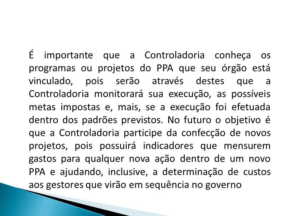 É importante que a Controladoria conheça os programas ou projetos do PPA que seu órgão está vinculado, pois serão através destes que a Controladoria m