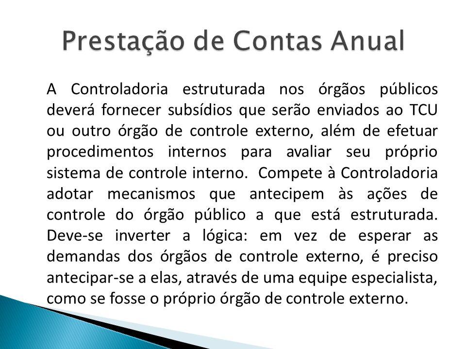 A Controladoria estruturada nos órgãos públicos deverá fornecer subsídios que serão enviados ao TCU ou outro órgão de controle externo, além de efetua