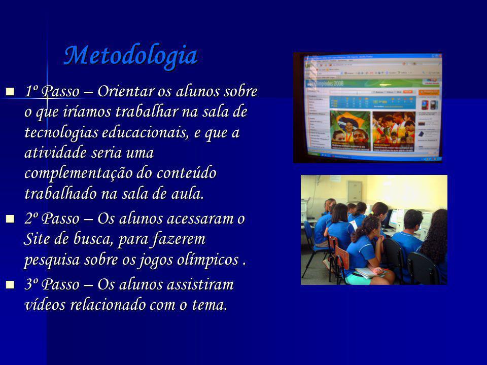 Metodologia 1º Passo – Orientar os alunos sobre o que iríamos trabalhar na sala de tecnologias educacionais, e que a atividade seria uma complementação do conteúdo trabalhado na sala de aula.