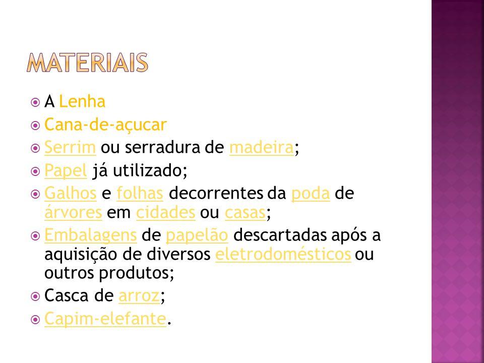 A Lenha  Cana-de-açucar  Serrim ou serradura de madeira; Serrimmadeira  Papel já utilizado; Papel  Galhos e folhas decorrentes da poda de árvore