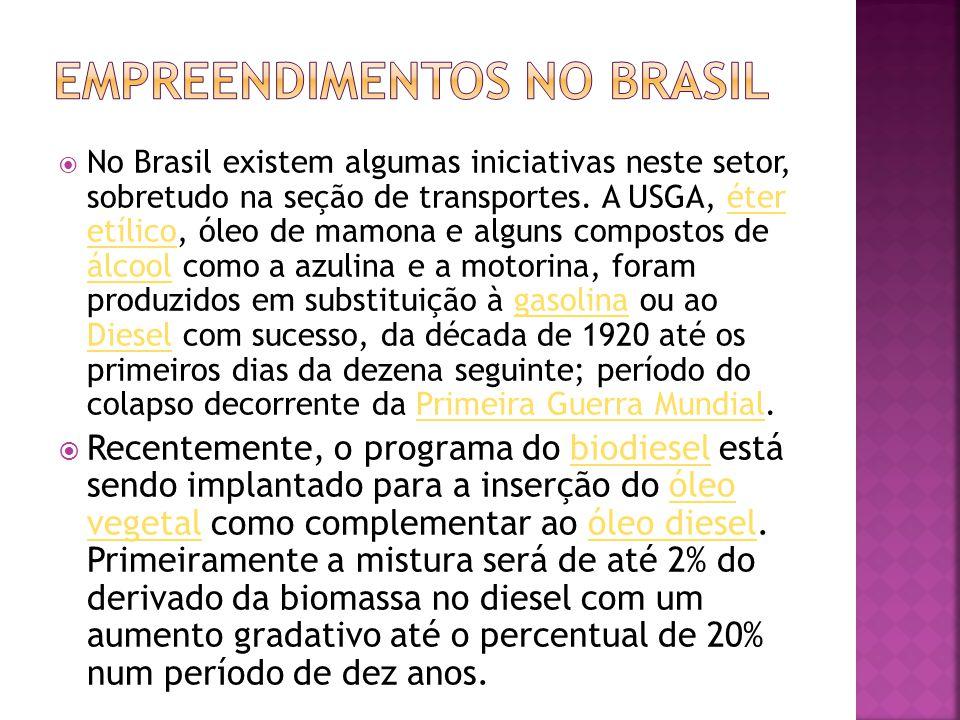  No Brasil existem algumas iniciativas neste setor, sobretudo na seção de transportes. A USGA, éter etílico, óleo de mamona e alguns compostos de álc