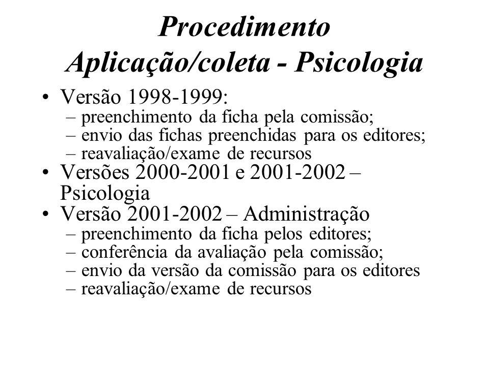 Procedimento Aplicação/coleta - Psicologia Versão 1998-1999: –preenchimento da ficha pela comissão; –envio das fichas preenchidas para os editores; –r