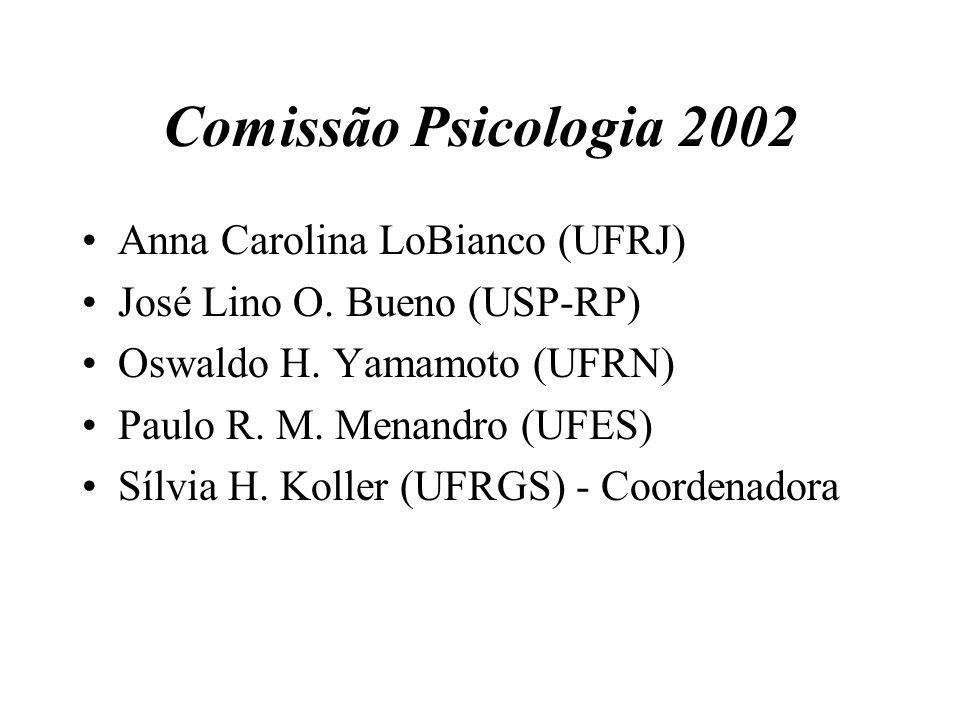 Comissão Psicologia 2002 Anna Carolina LoBianco (UFRJ) José Lino O. Bueno (USP-RP) Oswaldo H. Yamamoto (UFRN) Paulo R. M. Menandro (UFES) Sílvia H. Ko