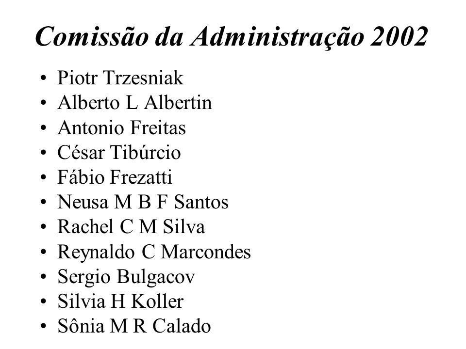 Comissão da Administração 2002 Piotr Trzesniak Alberto L Albertin Antonio Freitas César Tibúrcio Fábio Frezatti Neusa M B F Santos Rachel C M Silva Re