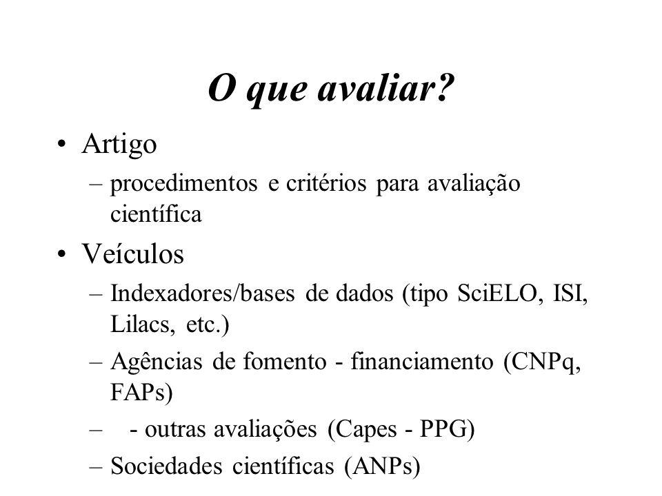 O que avaliar? Artigo –procedimentos e critérios para avaliação científica Veículos –Indexadores/bases de dados (tipo SciELO, ISI, Lilacs, etc.) –Agên