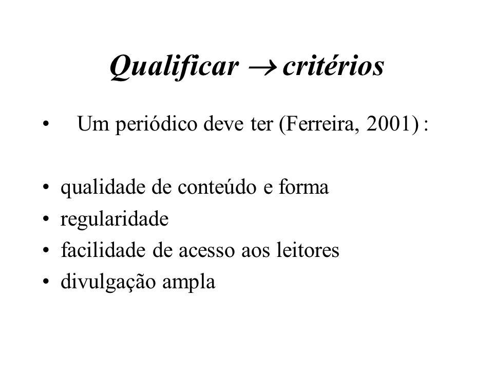Qualificar  critérios Um periódico deve ter (Ferreira, 2001) : qualidade de conteúdo e forma regularidade facilidade de acesso aos leitores divulgaçã