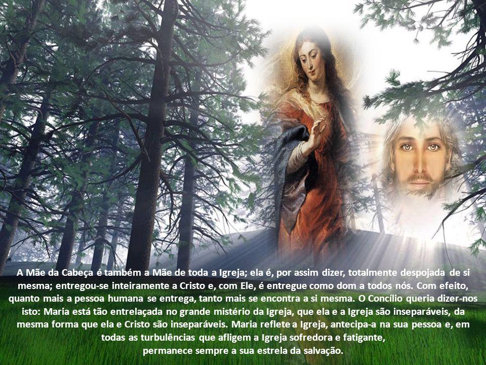 Maria não se coloca somente numa relação singular com Cristo, o Filho de Deus que, como homem, quis tornar-se seu Filho. Permanecendo totalmente unida