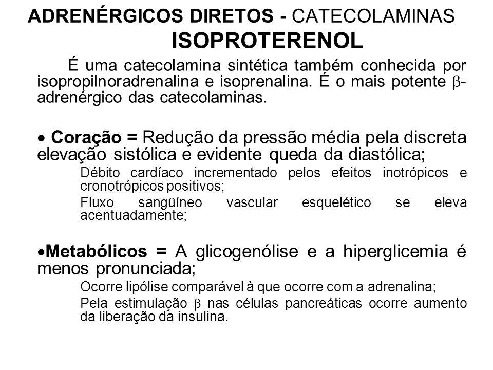 ADRENÉRGICOS DIRETOS - CATECOLAMINAS ISOPROTERENOL É uma catecolamina sintética também conhecida por isopropilnoradrenalina e isoprenalina.