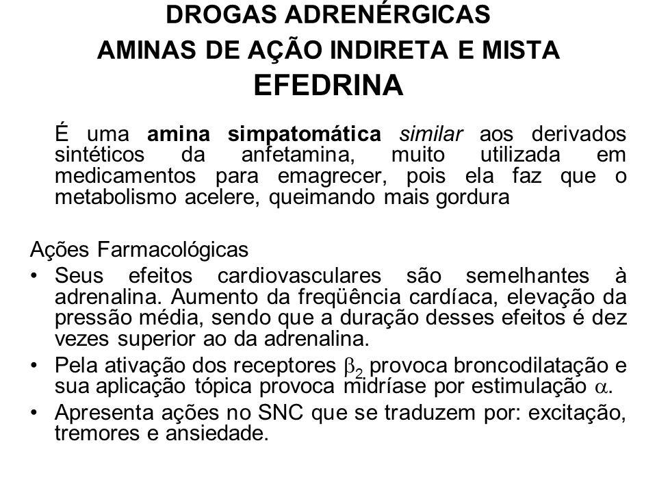 DROGAS ADRENÉRGICAS AMINAS DE AÇÃO INDIRETA E MISTA EFEDRINA É uma amina simpatomática similar aos derivados sintéticos da anfetamina, muito utilizada em medicamentos para emagrecer, pois ela faz que o metabolismo acelere, queimando mais gordura Ações Farmacológicas Seus efeitos cardiovasculares são semelhantes à adrenalina.
