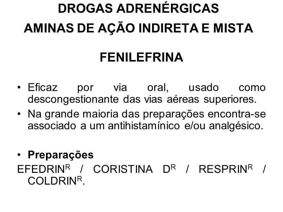 DROGAS ADRENÉRGICAS AMINAS DE AÇÃO INDIRETA E MISTA FENILEFRINA Eficaz por via oral, usado como descongestionante das vias aéreas superiores.