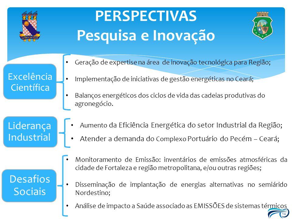 14 PERSPECTIVAS Pesquisa e Inovação Excelência Científica Desafios Sociais Liderança Industrial Atender a demanda do Complexo Portuário do Pecém – Cea