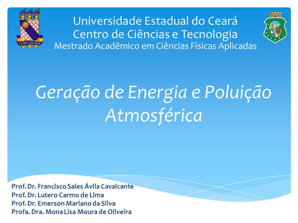 Geração de Energia e Poluição Atmosférica Prof. Dr. Francisco Sales Ávila Cavalcante Prof. Dr. Lutero Carmo de Lima Prof. Dr. Emerson Mariano da Silva