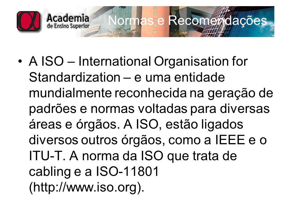 Normas e Recomendações A ISO – International Organisation for Standardization – e uma entidade mundialmente reconhecida na geração de padrões e normas