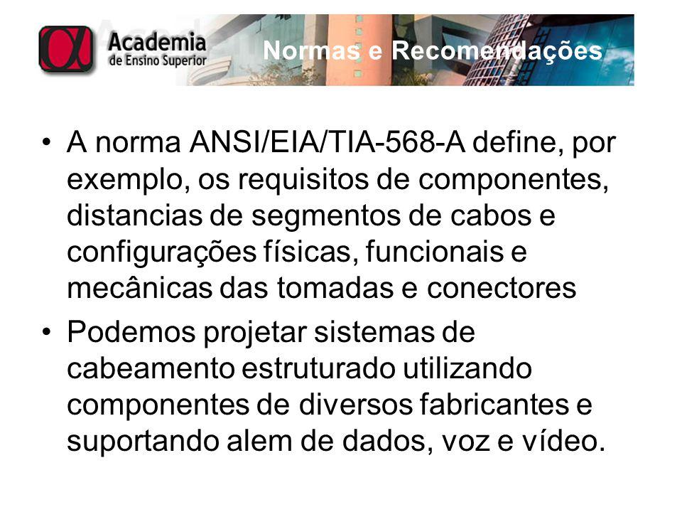 Normas e Recomendações A norma ANSI/EIA/TIA-568-A define, por exemplo, os requisitos de componentes, distancias de segmentos de cabos e configurações