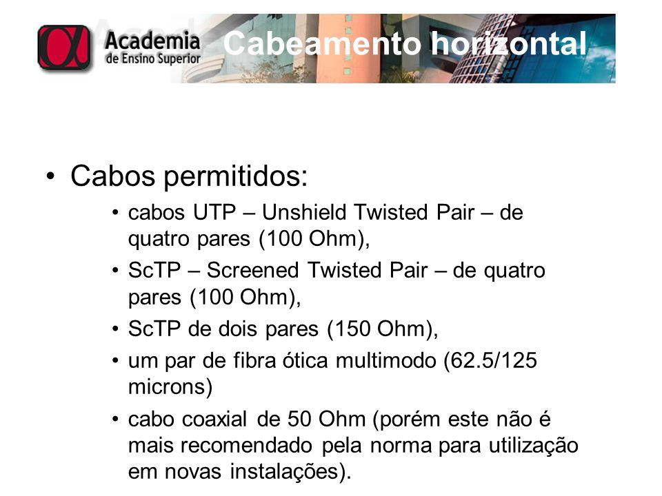 Cabeamento horizontal Cabos permitidos: cabos UTP – Unshield Twisted Pair – de quatro pares (100 Ohm), ScTP – Screened Twisted Pair – de quatro pares