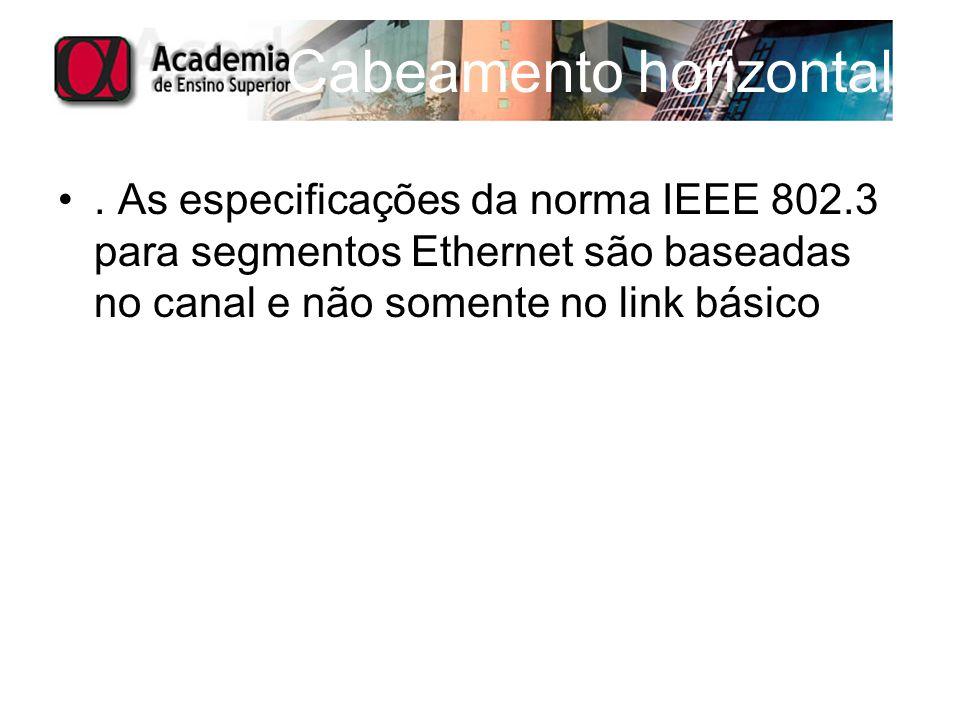 Cabeamento horizontal. As especificações da norma IEEE 802.3 para segmentos Ethernet são baseadas no canal e não somente no link básico