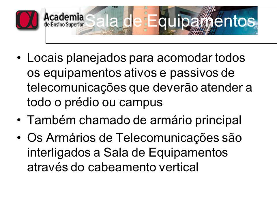 Locais planejados para acomodar todos os equipamentos ativos e passivos de telecomunicações que deverão atender a todo o prédio ou campus Também chama