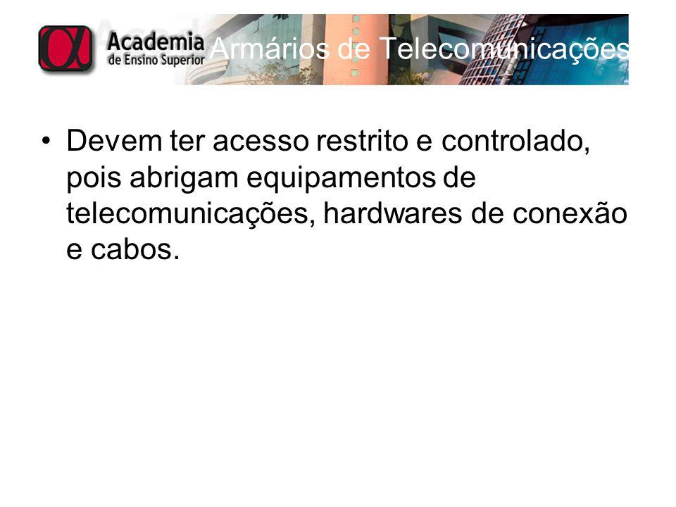 Armários de Telecomunicações Devem ter acesso restrito e controlado, pois abrigam equipamentos de telecomunicações, hardwares de conexão e cabos.