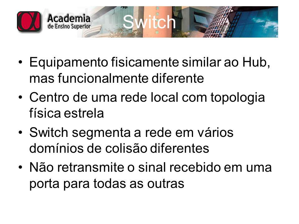 Switch Equipamento fisicamente similar ao Hub, mas funcionalmente diferente Centro de uma rede local com topologia física estrela Switch segmenta a re