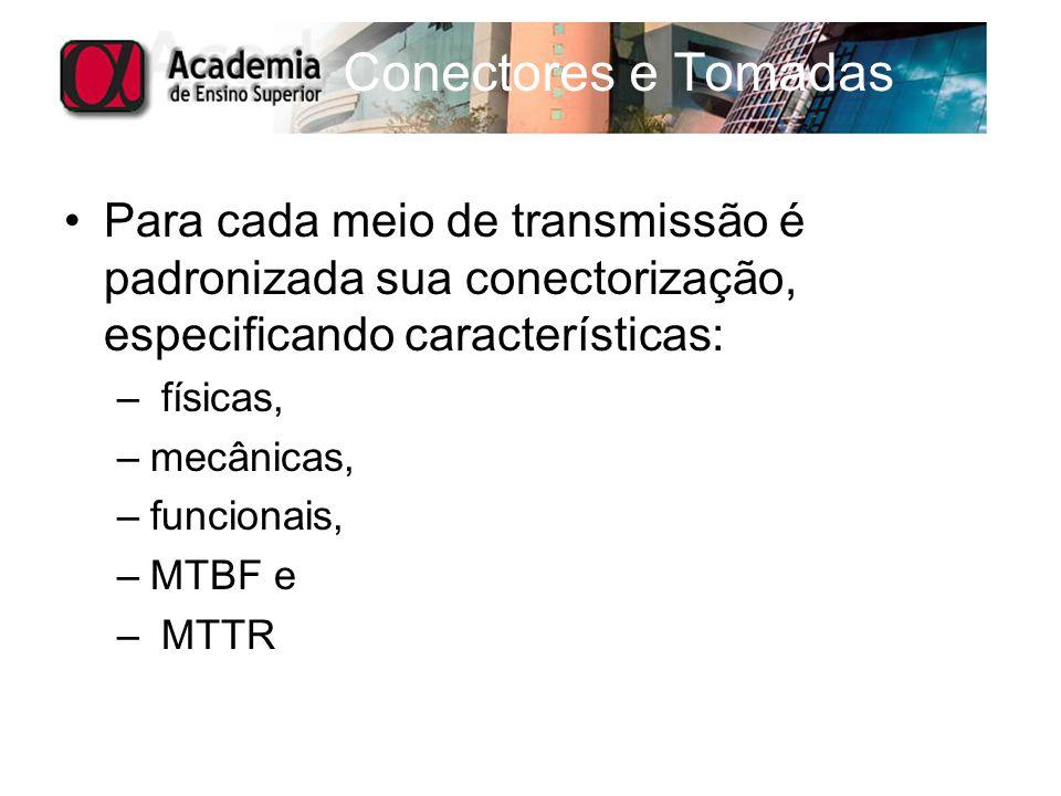 Para cada meio de transmissão é padronizada sua conectorização, especificando características: – físicas, –mecânicas, –funcionais, –MTBF e – MTTR