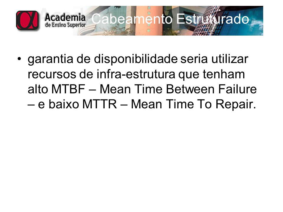 garantia de disponibilidade seria utilizar recursos de infra-estrutura que tenham alto MTBF – Mean Time Between Failure – e baixo MTTR – Mean Time To