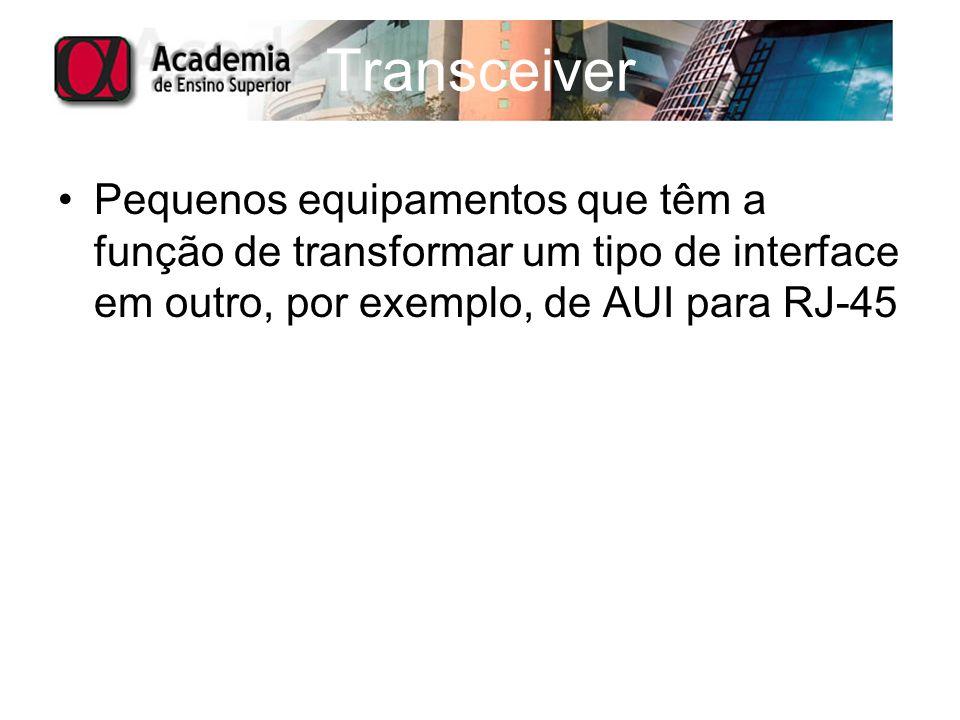 Pequenos equipamentos que têm a função de transformar um tipo de interface em outro, por exemplo, de AUI para RJ-45