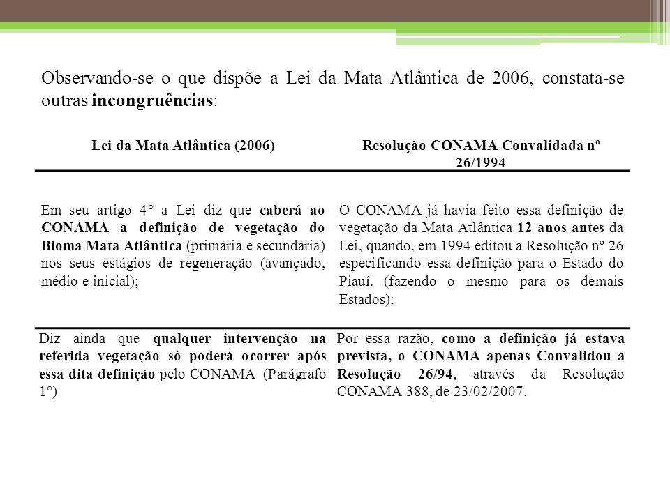 Observando-se o que dispõe a Lei da Mata Atlântica de 2006, constata-se outras incongruências: Lei da Mata Atlântica (2006)Resolução CONAMA Convalidada nº 26/1994 Em seu artigo 4° a Lei diz que caberá ao CONAMA a definição de vegetação do Bioma Mata Atlântica (primária e secundária) nos seus estágios de regeneração (avançado, médio e inicial); O CONAMA já havia feito essa definição de vegetação da Mata Atlântica 12 anos antes da Lei, quando, em 1994 editou a Resolução nº 26 especificando essa definição para o Estado do Piauí.