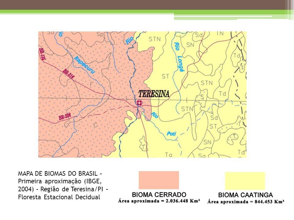 MAPA DE BIOMAS DO BRASIL – Primeira aproximação (IBGE, 2004) – Região de Teresina/PI – Floresta Estacional Decidual
