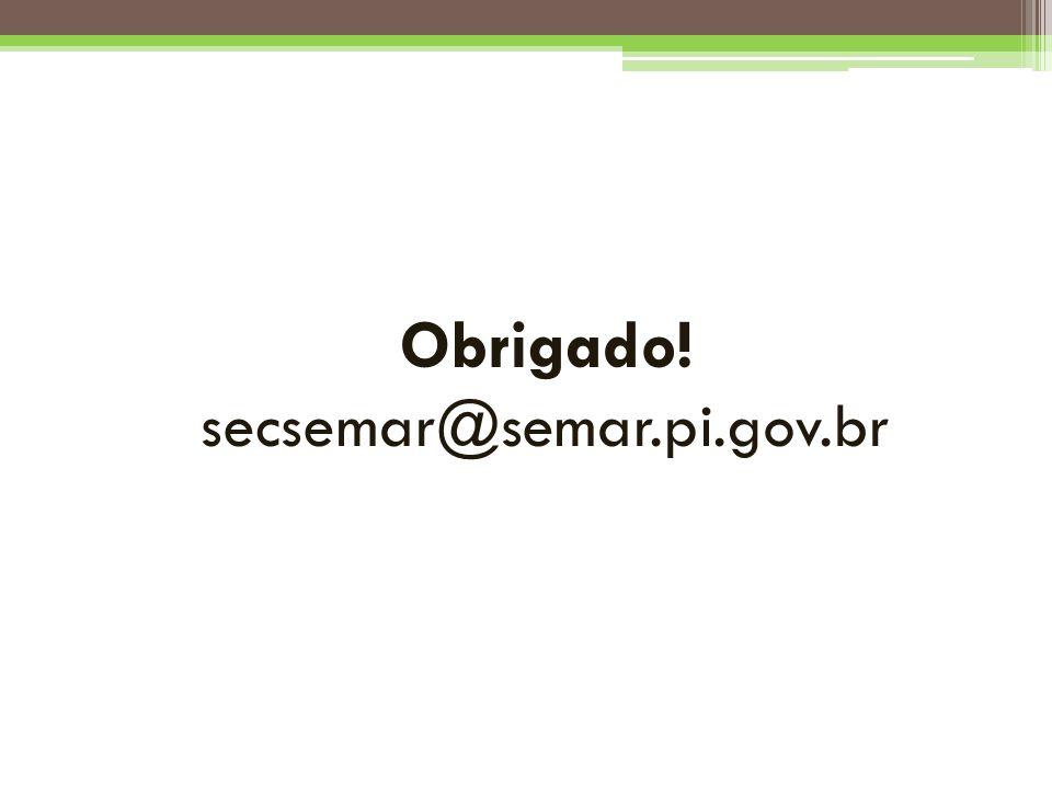 Obrigado! secsemar@semar.pi.gov.br