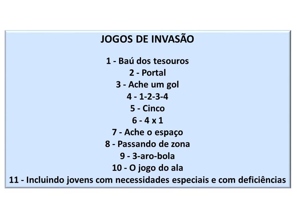 JOGOS DE INVASÃO 1 - Baú dos tesouros 2 - Portal 3 - Ache um gol 4 - 1-2-3-4 5 - Cinco 6 - 4 x 1 7 - Ache o espaço 8 - Passando de zona 9 - 3-aro-bola