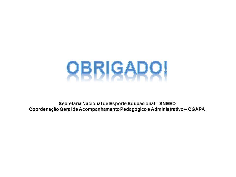 Secretaria Nacional de Esporte Educacional – SNEED Coordenação Geral de Acompanhamento Pedagógico e Administrativo – CGAPA