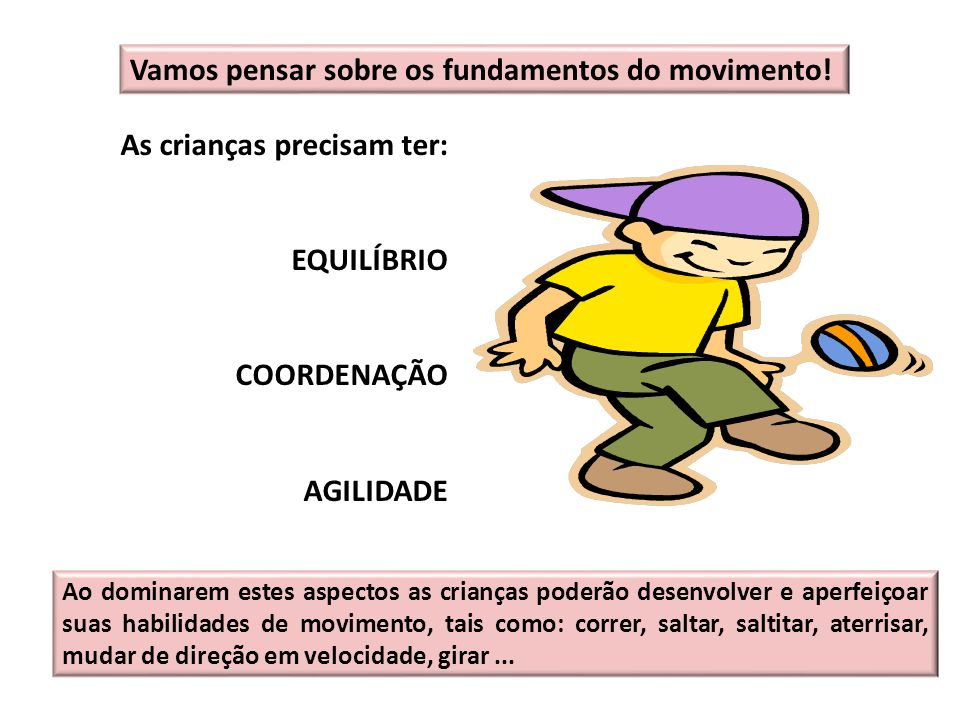 Vamos pensar sobre os fundamentos do movimento! As crianças precisam ter: EQUILÍBRIO COORDENAÇÃO AGILIDADE Ao dominarem estes aspectos as crianças pod