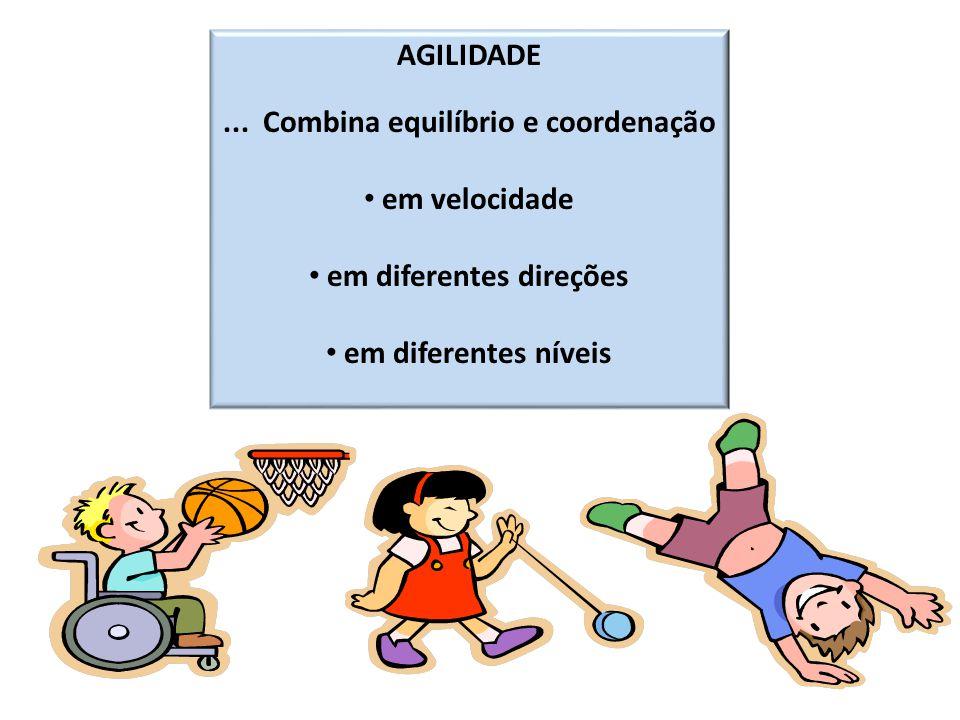 AGILIDADE... Combina equilíbrio e coordenação em velocidade em diferentes direções em diferentes níveis