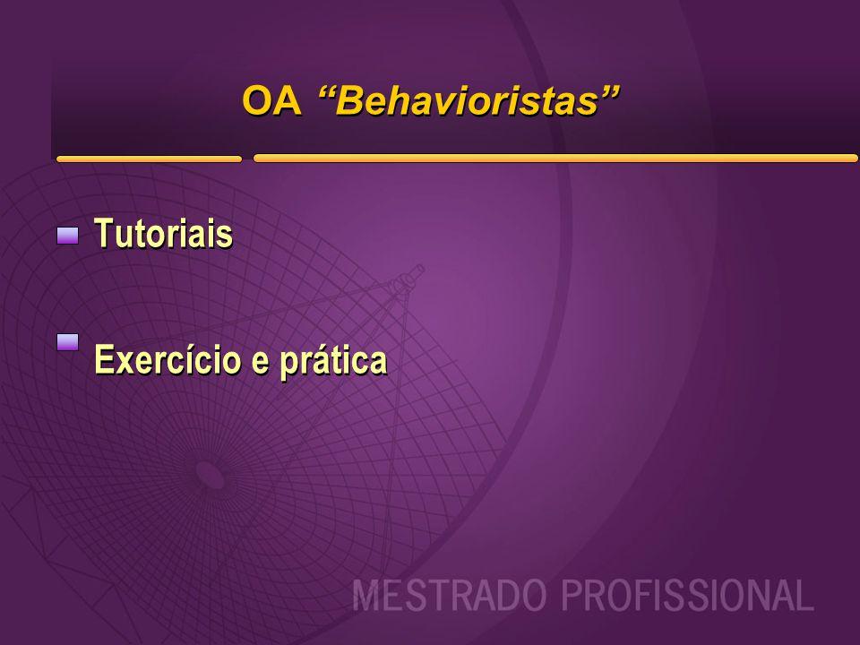 """OA """"Behavioristas"""" Tutoriais Exercício e prática Tutoriais Exercício e prática"""