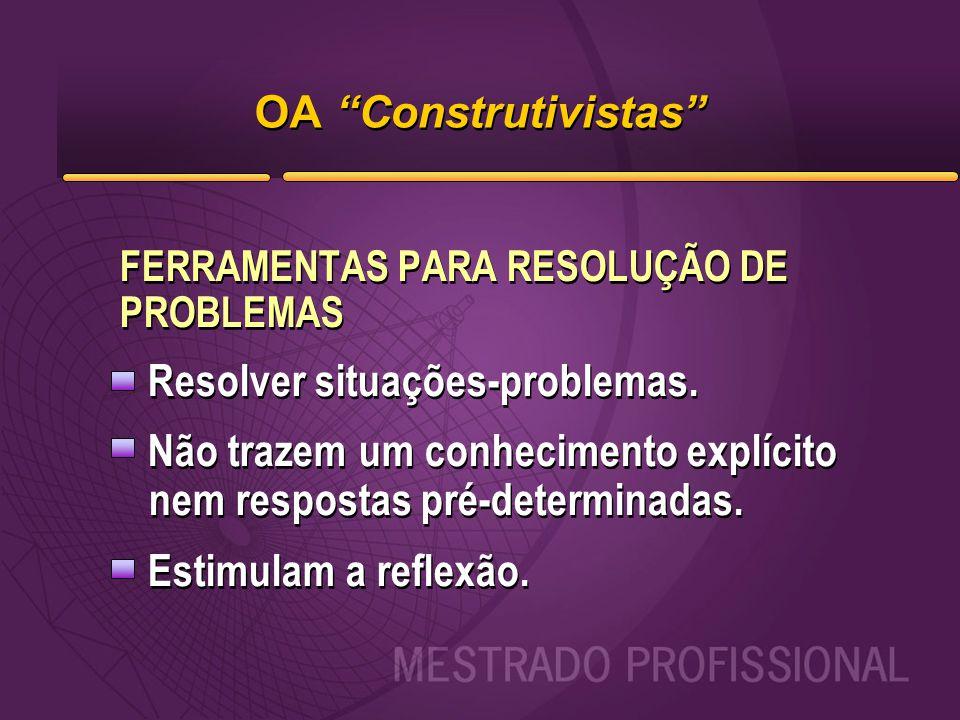 """OA """"Construtivistas"""" FERRAMENTAS PARA RESOLUÇÃO DE PROBLEMAS Resolver situações-problemas. Não trazem um conhecimento explícito nem respostas pré-dete"""