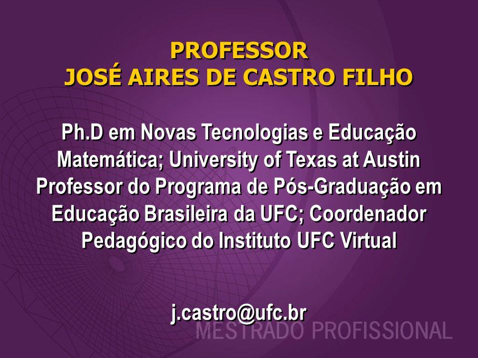 PROFESSOR JOSÉ AIRES DE CASTRO FILHO j.castro@ufc.br Ph.D em Novas Tecnologias e Educação Matemática; University of Texas at Austin Professor do Progr