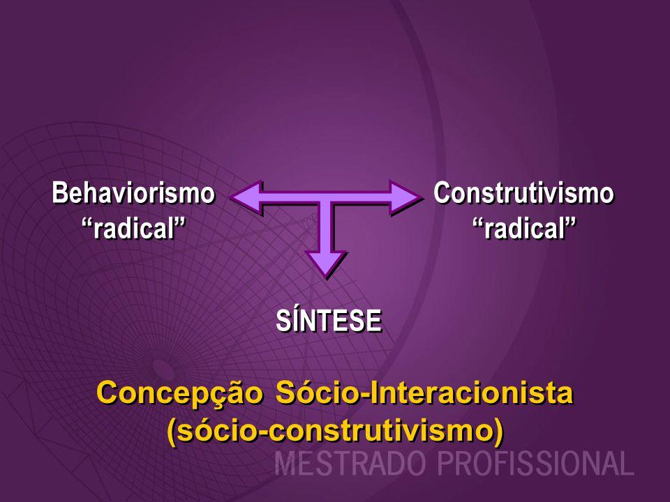 """Behaviorismo """"radical"""" Behaviorismo """"radical"""" Construtivismo """"radical"""" Construtivismo """"radical"""" SÍNTESE Concepção Sócio-Interacionista (sócio-construt"""
