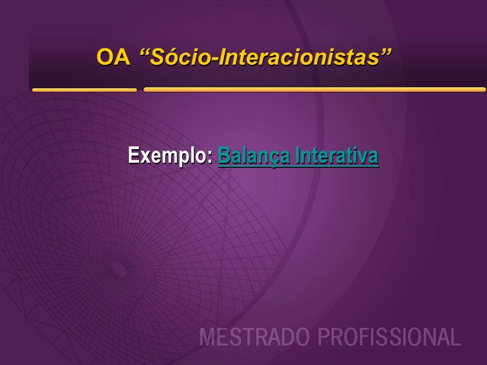 """OA """"Sócio-Interacionistas"""" Exemplo: Balança InterativaBalança Interativa Exemplo: Balança InterativaBalança Interativa"""