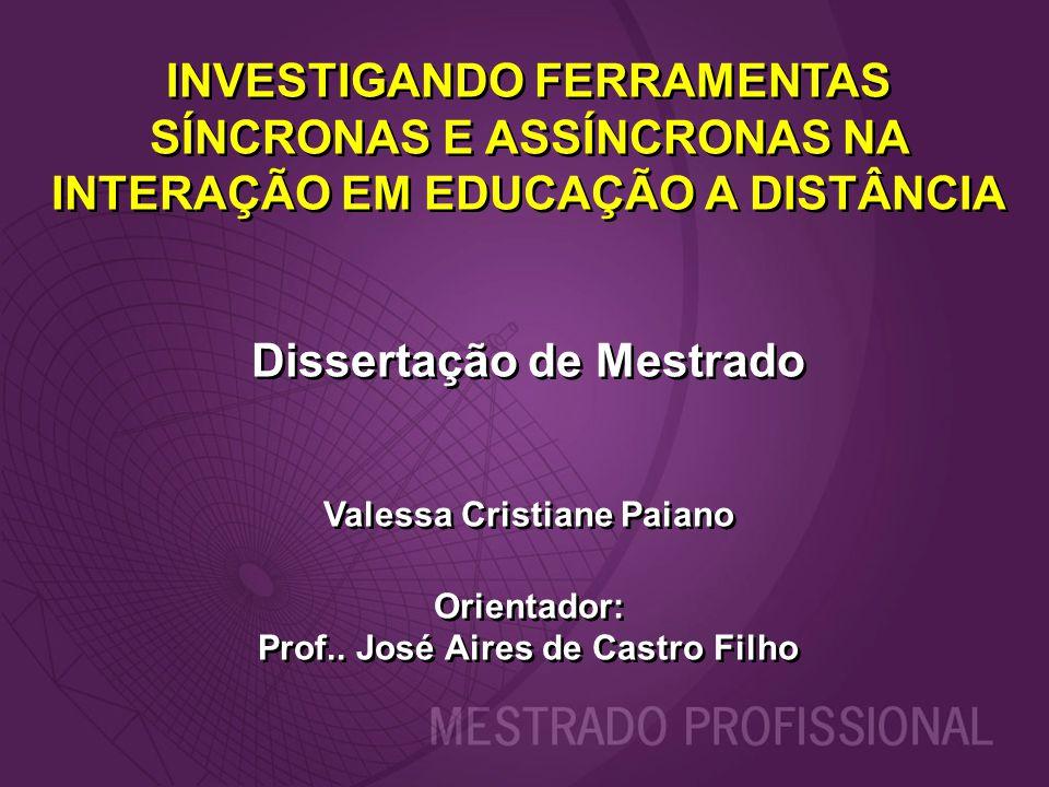 INVESTIGANDO FERRAMENTAS SÍNCRONAS E ASSÍNCRONAS NA INTERAÇÃO EM EDUCAÇÃO A DISTÂNCIA Dissertação de Mestrado Valessa Cristiane Paiano Orientador: Pro