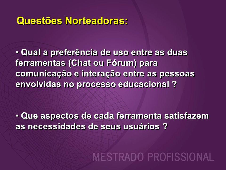 Questões Norteadoras: Qual a preferência de uso entre as duas ferramentas (Chat ou Fórum) para comunicação e interação entre as pessoas envolvidas no