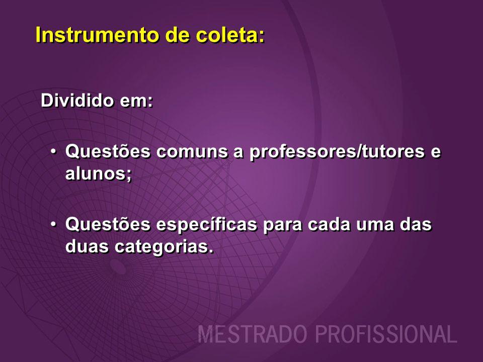 Dividido em: Questões comuns a professores/tutores e alunos; Questões específicas para cada uma das duas categorias. Dividido em: Questões comuns a pr