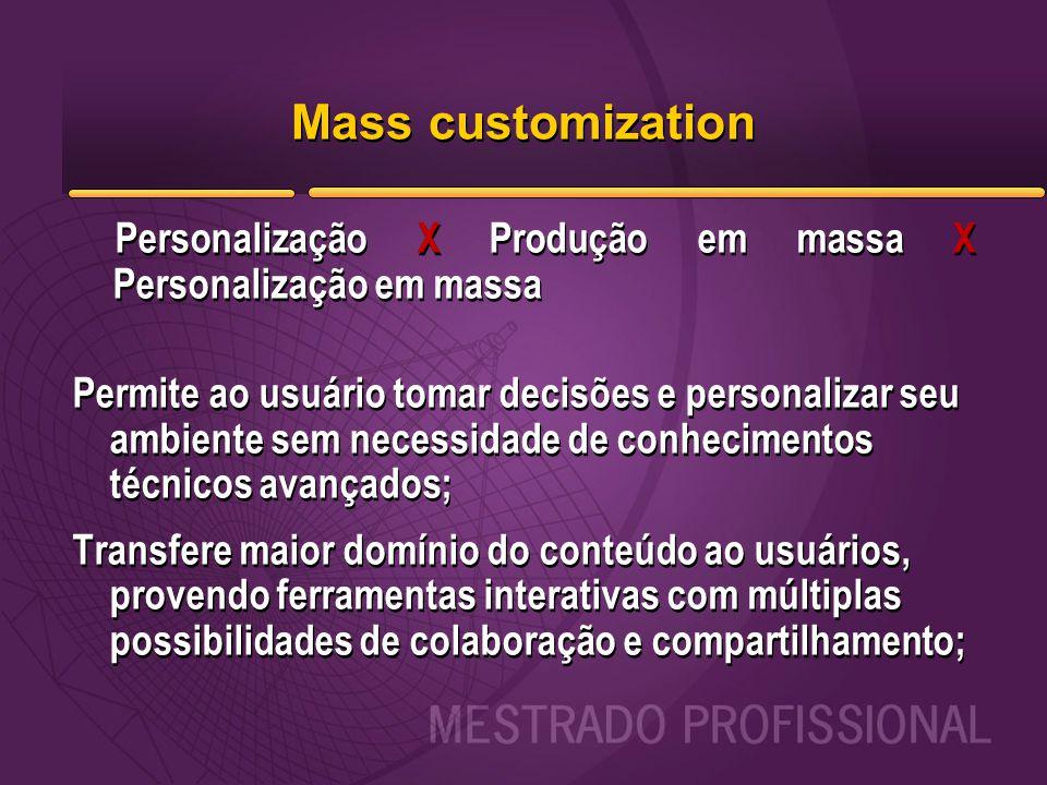 Mass customization Personalização X Produção em massa X Personalização em massa Permite ao usuário tomar decisões e personalizar seu ambiente sem nece