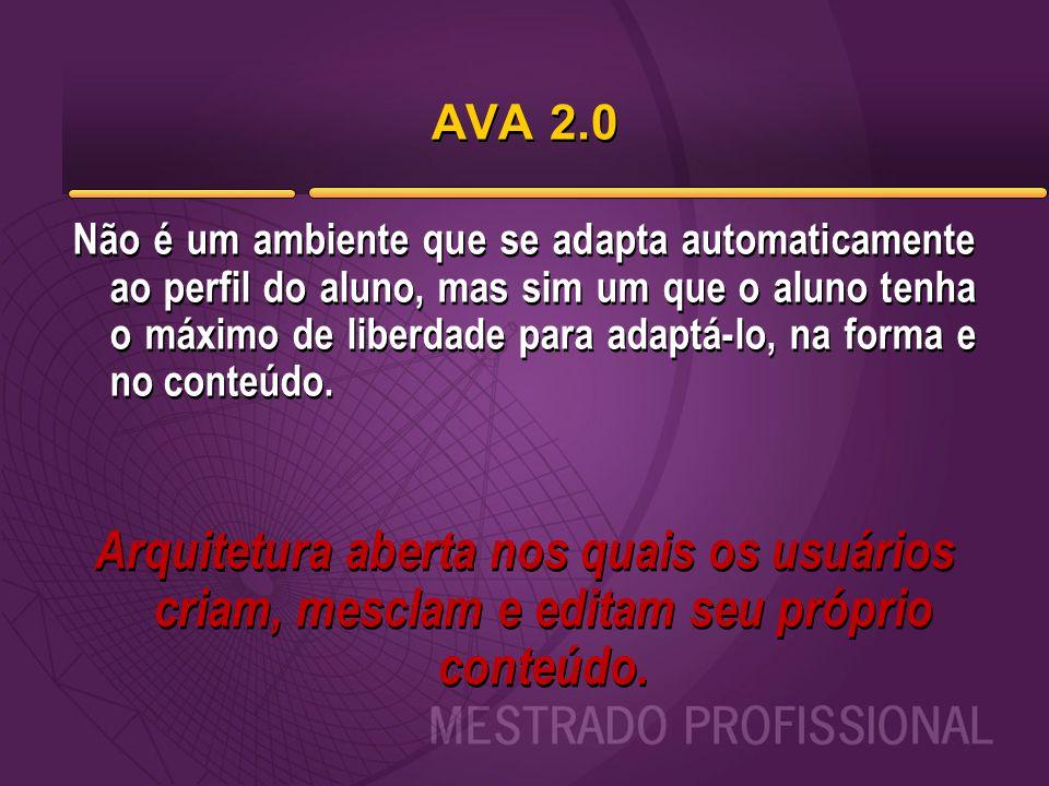 AVA 2.0 Não é um ambiente que se adapta automaticamente ao perfil do aluno, mas sim um que o aluno tenha o máximo de liberdade para adaptá-lo, na form