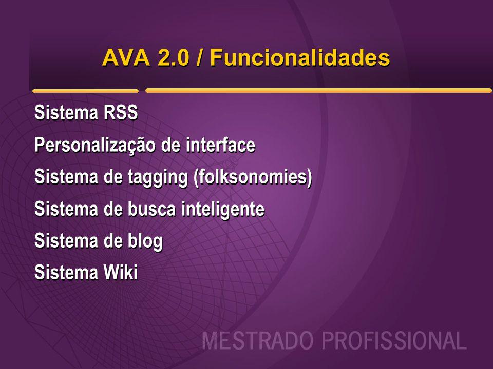 AVA 2.0 / Funcionalidades Sistema RSS Personalização de interface Sistema de tagging (folksonomies) Sistema de busca inteligente Sistema de blog Siste