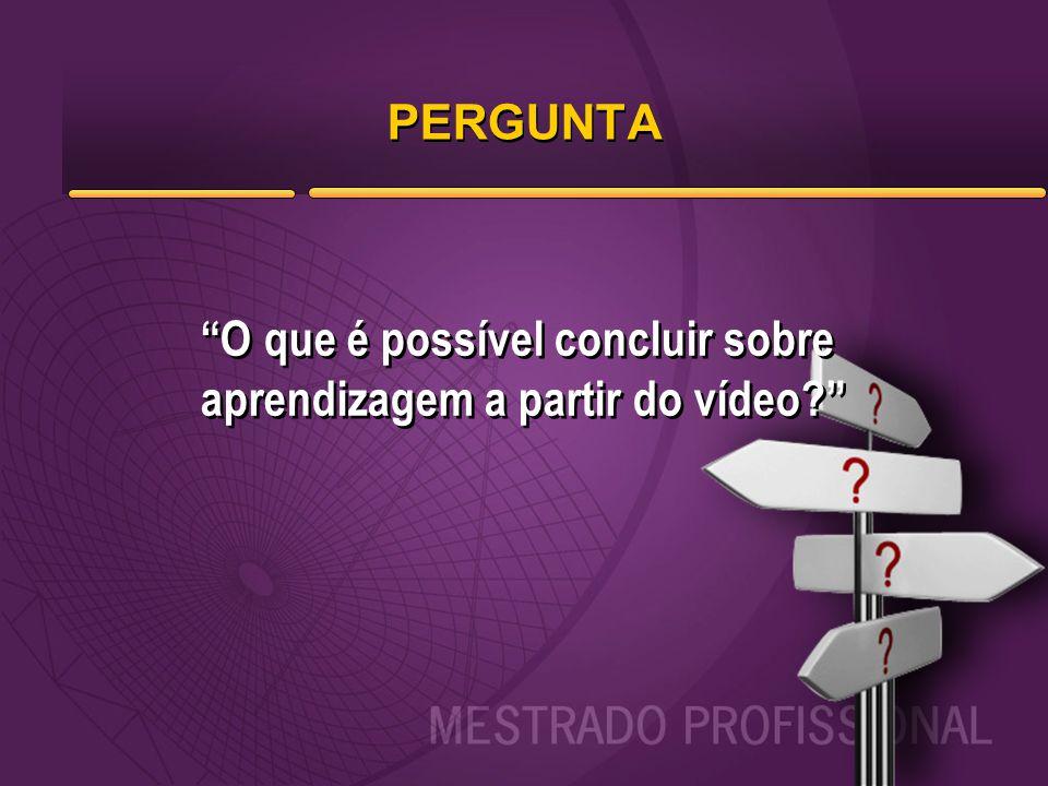 PERGUNTA O que é possível concluir sobre aprendizagem a partir do vídeo?
