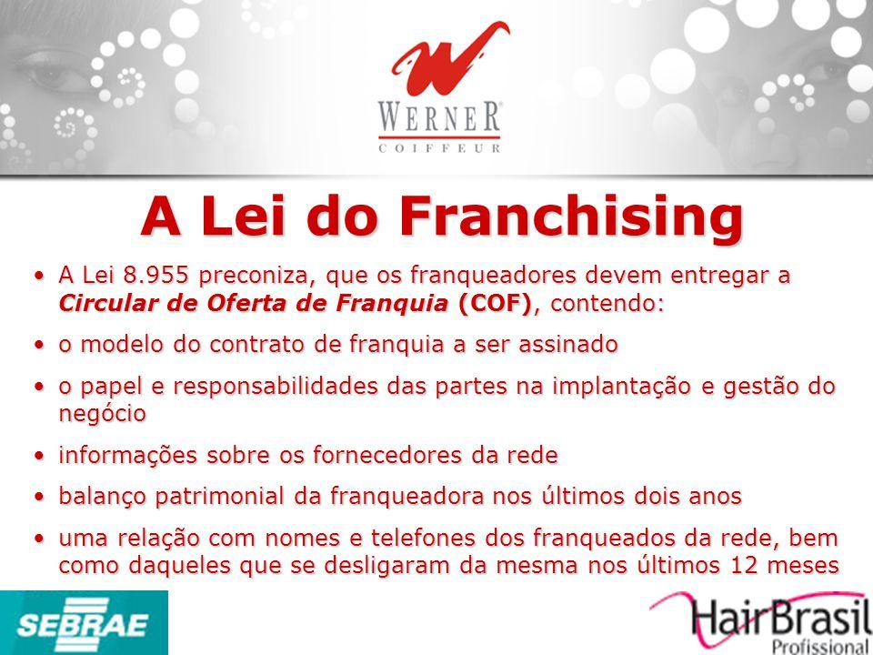 A Lei do Franchising A Lei 8.955 preconiza, que os franqueadores devem entregar a Circular de Oferta de Franquia (COF), contendo:A Lei 8.955 preconiza