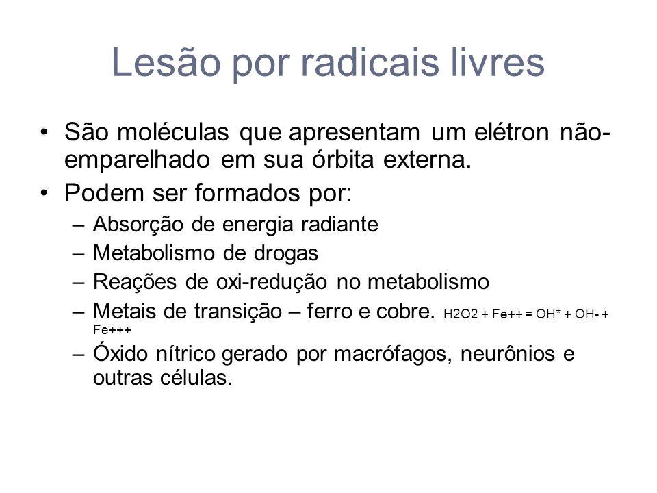 Lesão por radicais livres São moléculas que apresentam um elétron não- emparelhado em sua órbita externa.