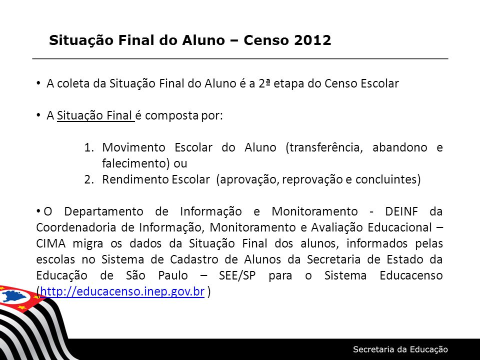 Situação Final do Aluno – Censo 2012 A coleta da Situação Final do Aluno é a 2ª etapa do Censo Escolar A Situação Final é composta por: 1.Movimento Es